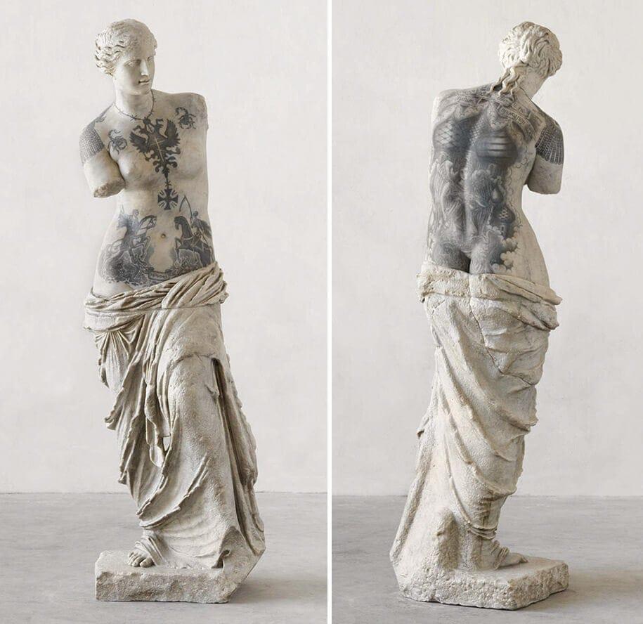 italian artist gives classical sculptures criminal tattoos fy 5