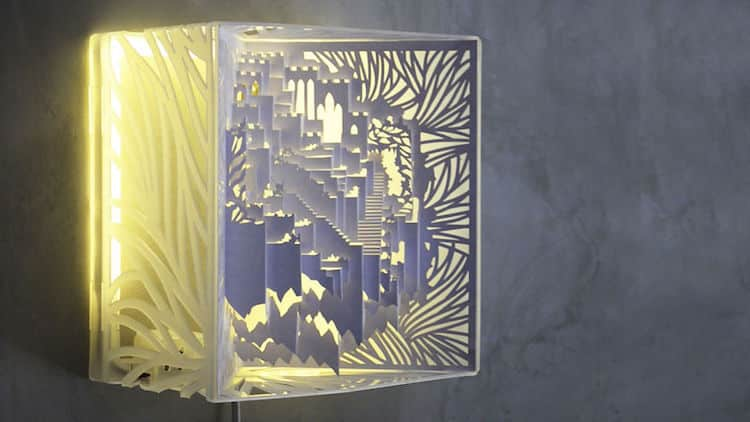 3d kirigami pop up paper lamp freeyork 1