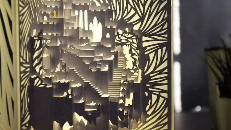 3d kirigami pop up paper lamp freeyork 5