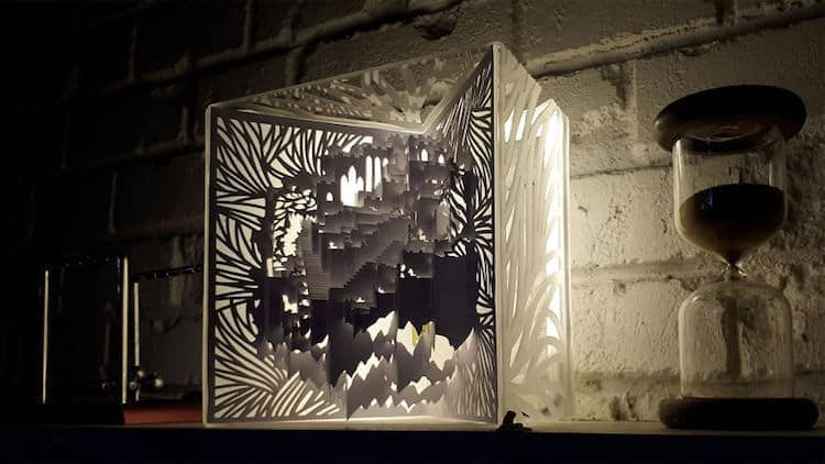 3d kirigami pop up paper lamp freeyork 6