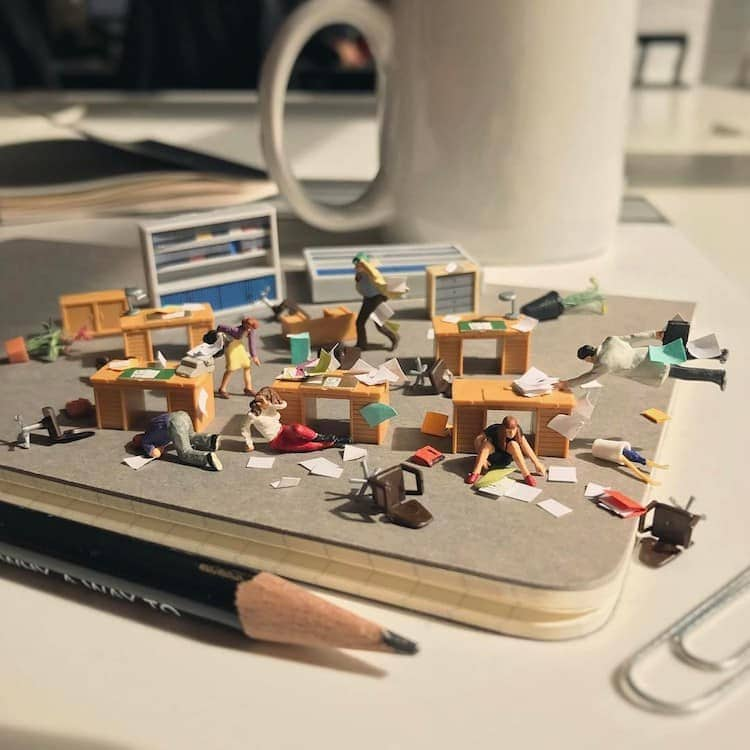 derrick lin tiny sculptures office life fy 12
