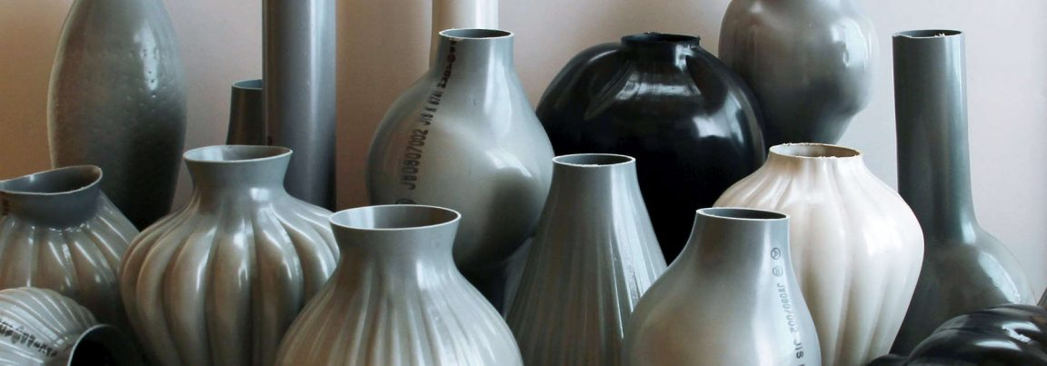 plastic pipes water hand blown vases