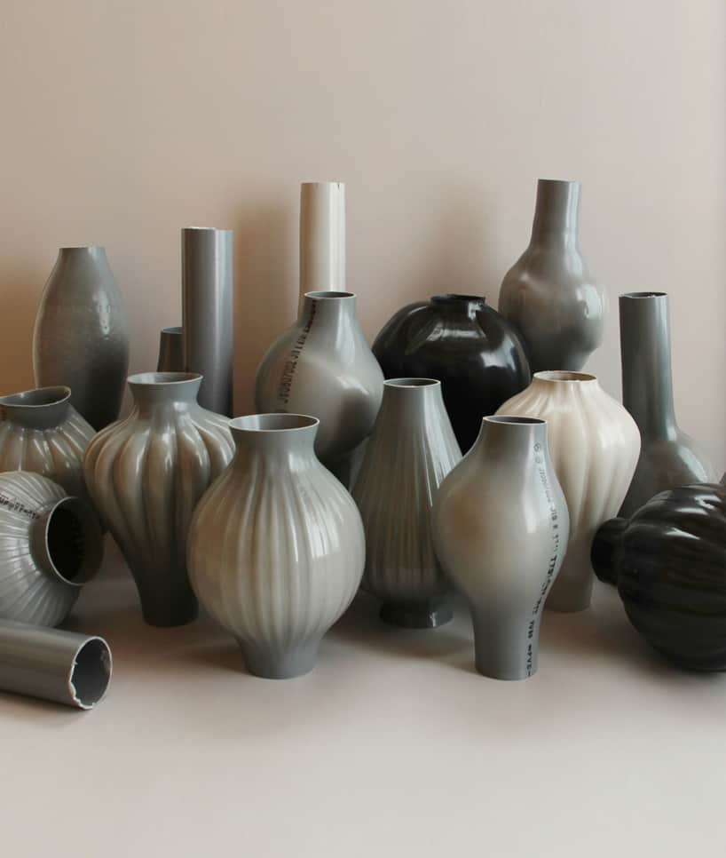 plastic pipes water hand blown vases 6