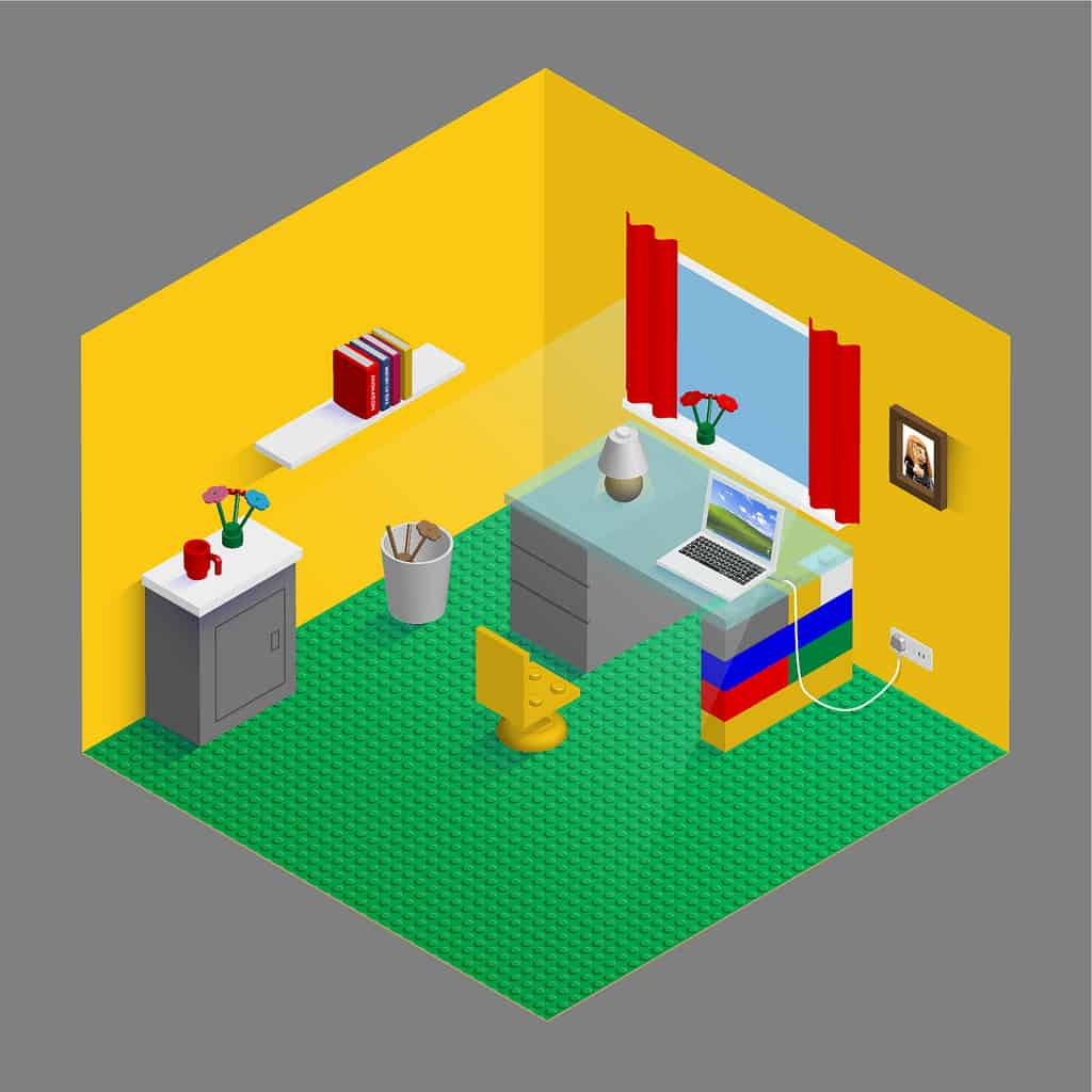 Mock-up of a home office designed by Lego