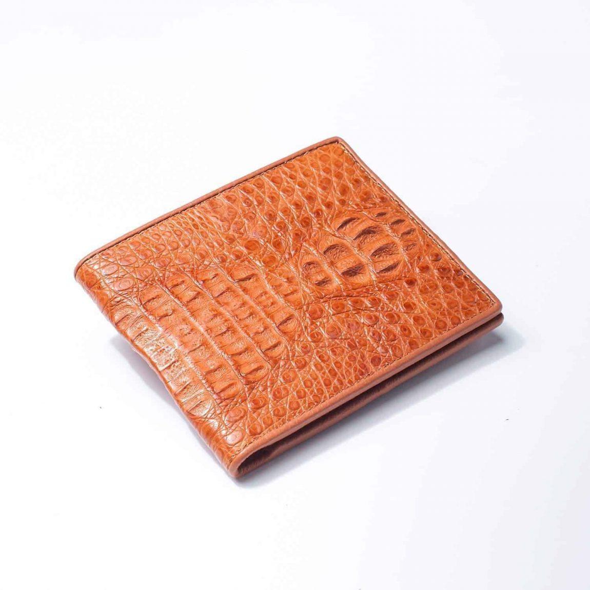 light brown hornback crocodile mens wallet 1500x