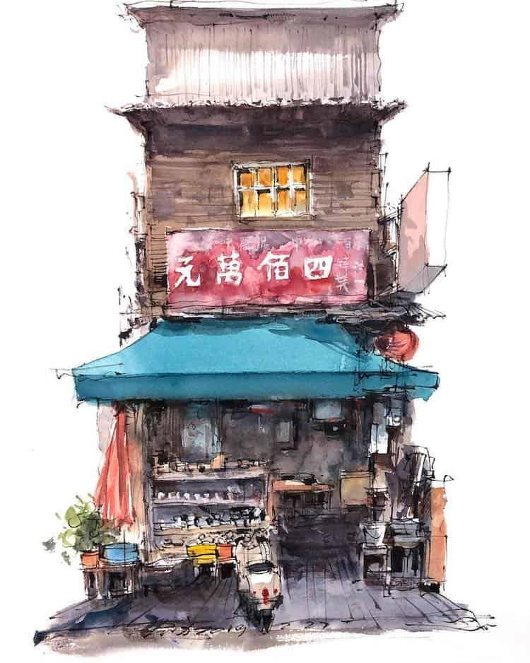 watercolor travel art zhifang shi 1
