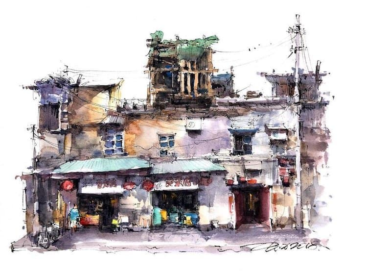 watercolor travel art zhifang shi 2