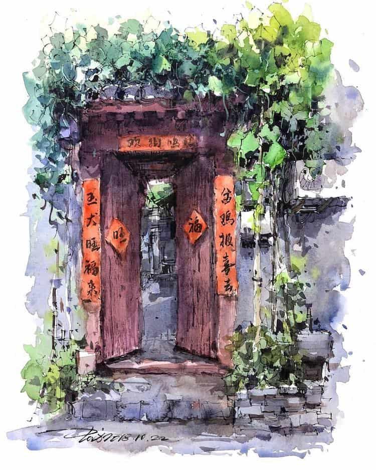 watercolor travel art zhifang shi 3