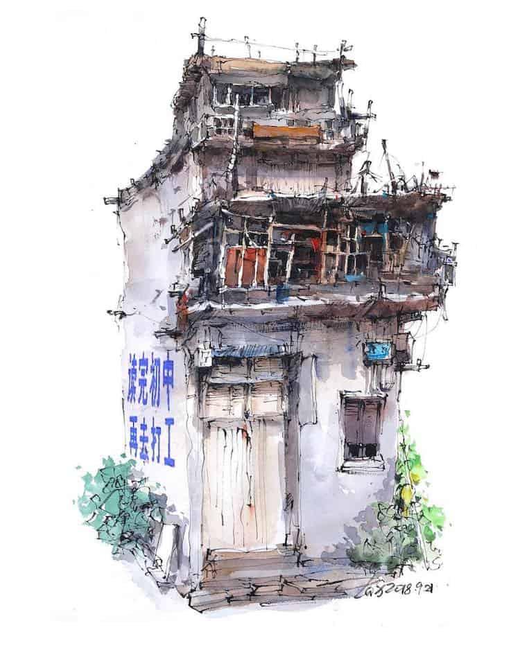 watercolor travel art zhifang shi 4