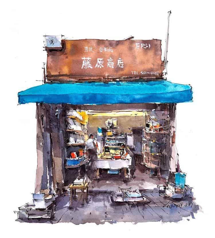 watercolor travel art zhifang shi 6