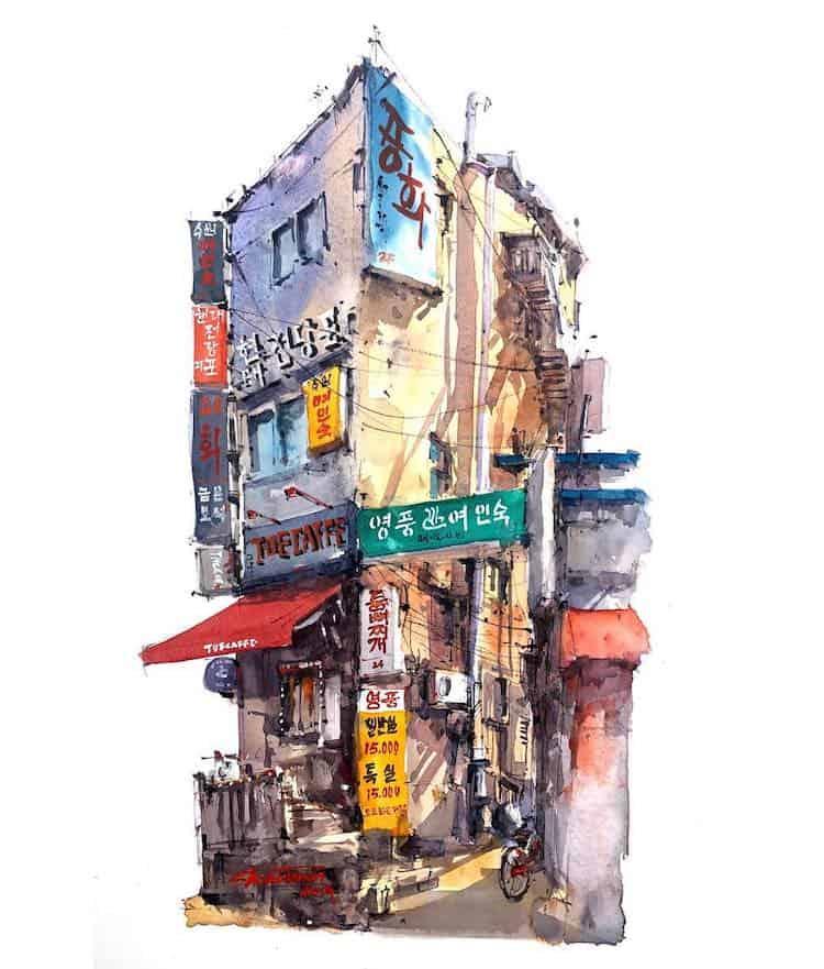 watercolor travel art zhifang shi 7