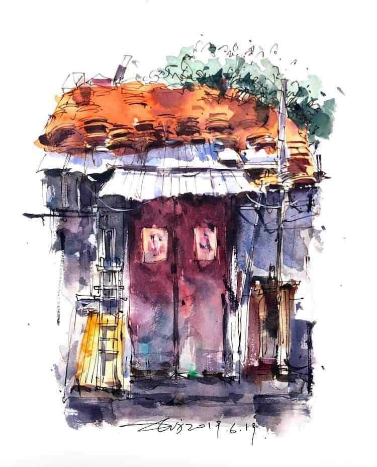 watercolor travel art zhifang shi 8