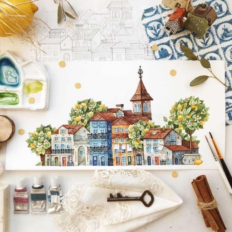 Pinturas em aquarela encantadoras retratam pequenas cidades do pais das fadas aninhadas dentro de flores no jardim DIFNlwEi 3