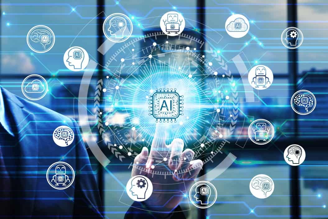 businessman hand touching virtual screen artificial intelligence technology icon over the