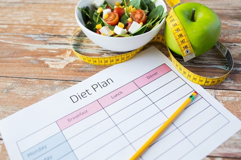 close up of diet plan and food on table PTA2GP4