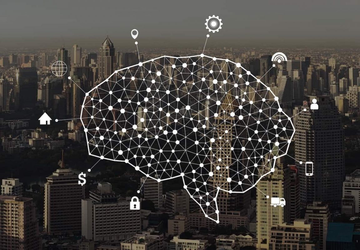 human brain and infographic template and connection lines on city background in the form of t20 6lKXV9