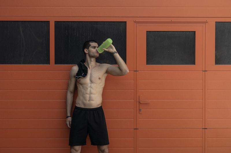 portrait muscular man naked torso taking a break 4AJ2XSR