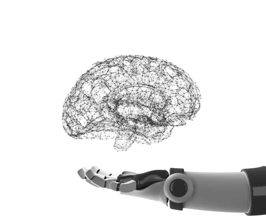 robot hand holding virtual brain isolated on white artificial intelligence in futuristic technology t20 eobGw2