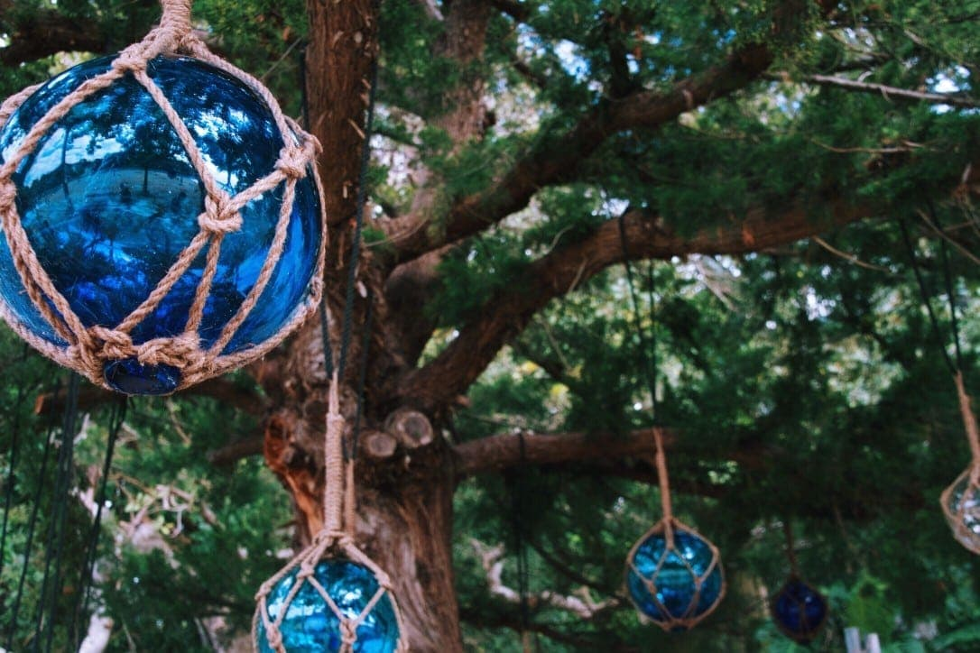 baubles decorating a beach side