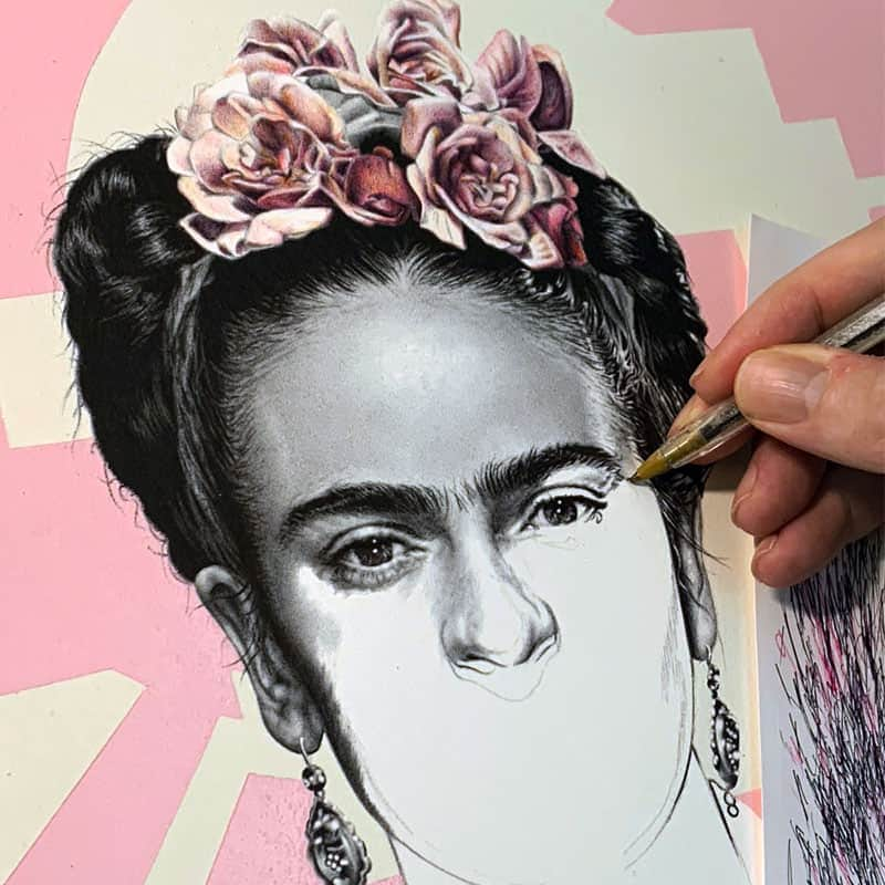 drawing biro ballpoint pen art frida kahlo 2