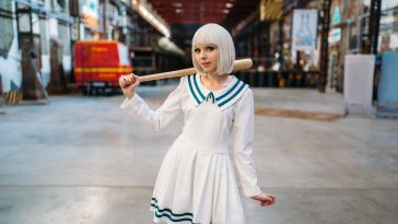 cute anime style blonde girl with baseball bat 3LM7UDN