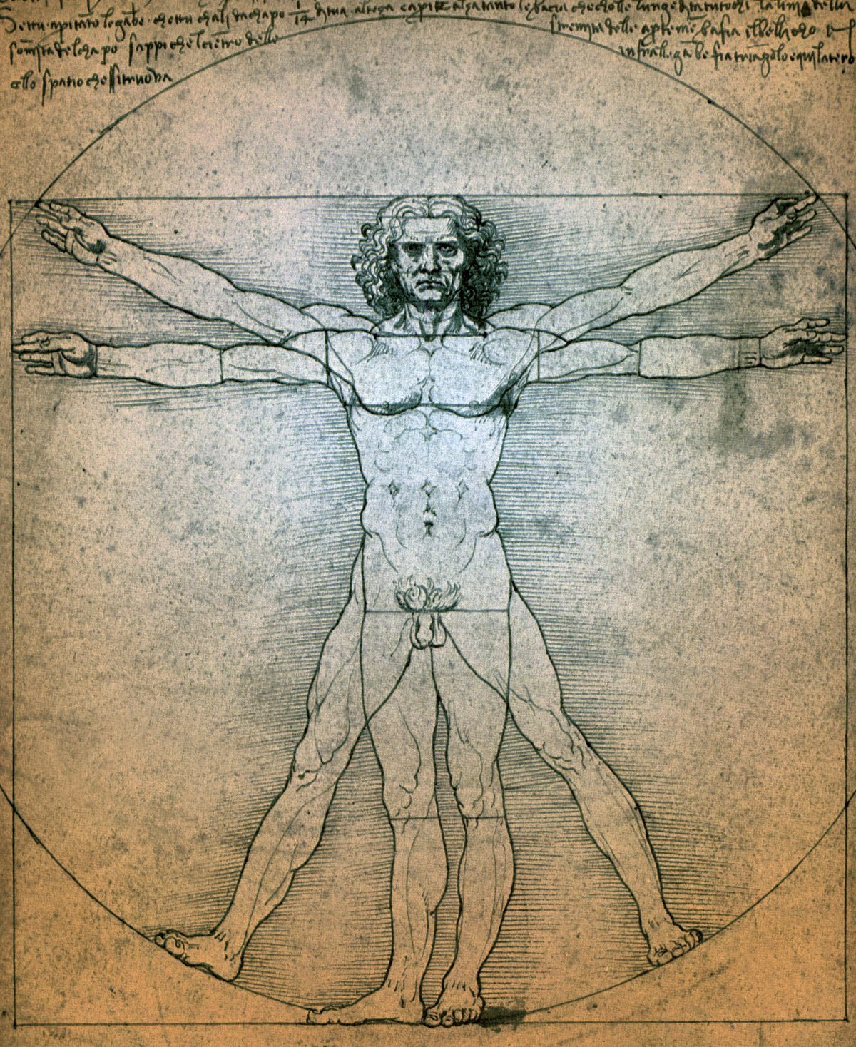vitruvian man is a drawing created by leonardo da vinci circa 1487 it is accompanied by notes based t20 e3n08L