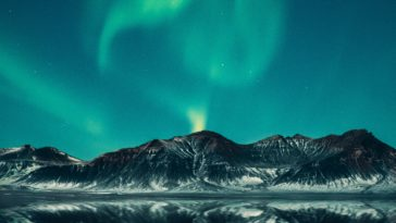 green aurora lights digital wallpaper