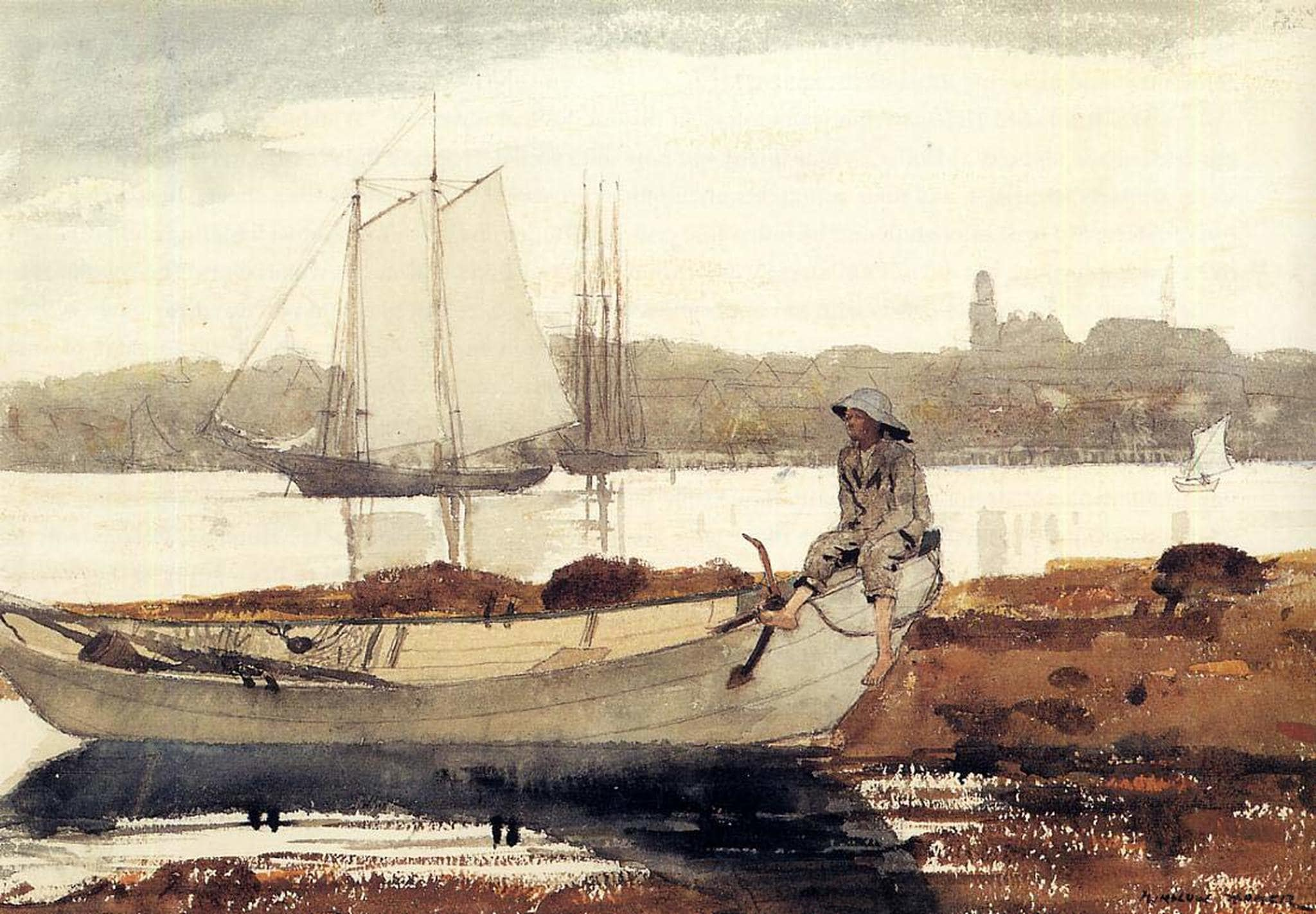 gloucester harbor and dory winslow homer  64562.1556882586