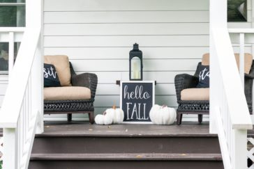 cute stylish fall decor on the front porch hello f FR3GMGT