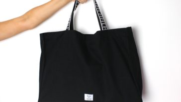black fabric handbag