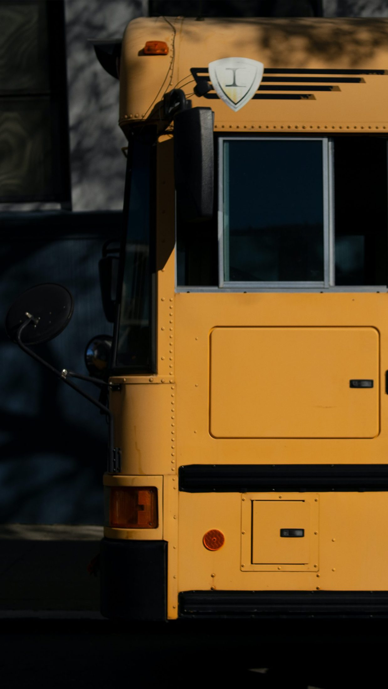 yellow bus in close up photography