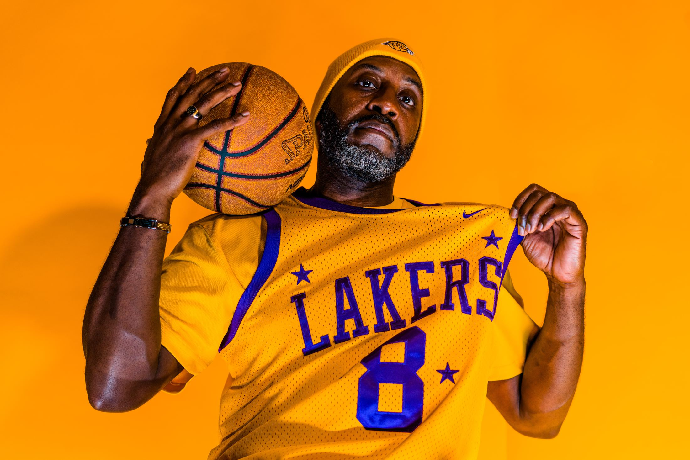 person wearing a Los Angeles Lakers jersey