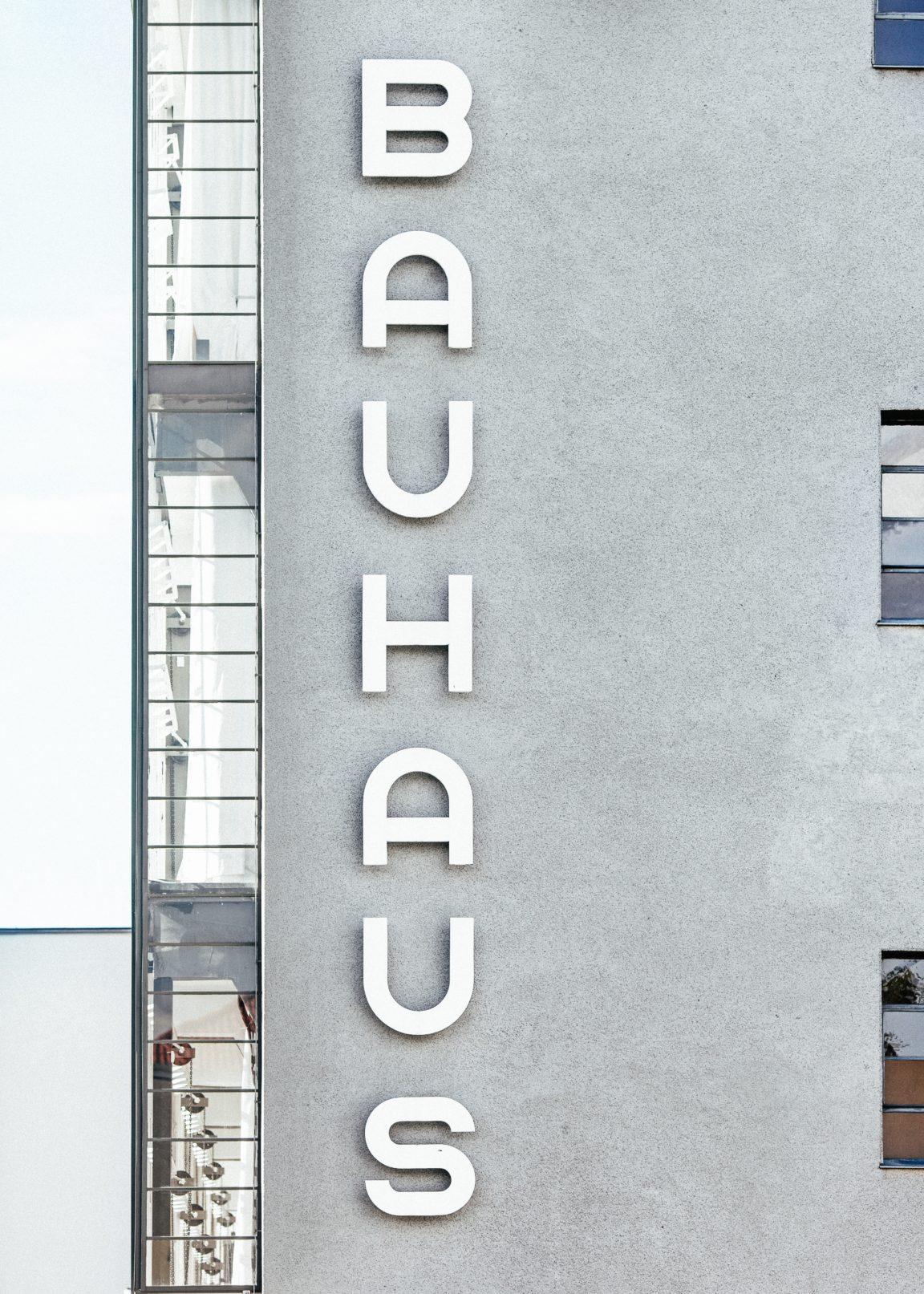 Bauhaus concrete apartment building