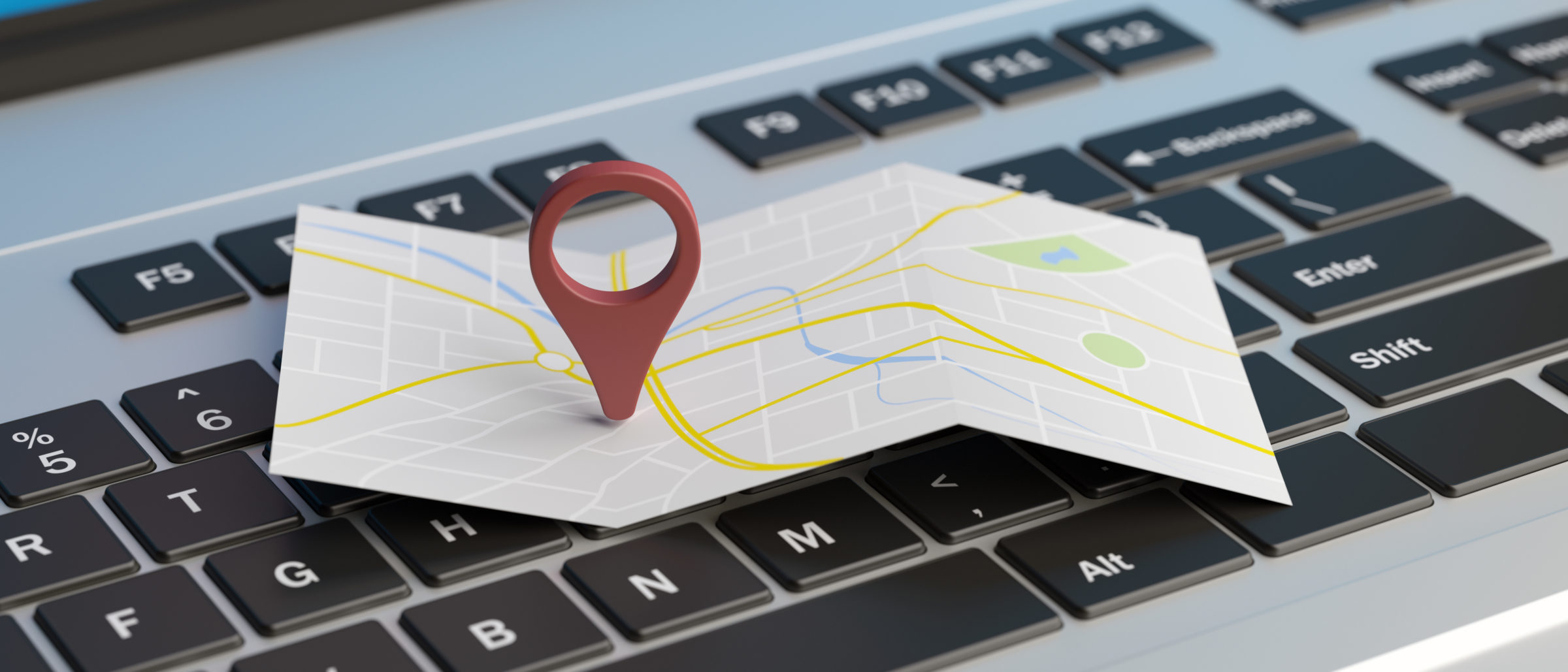 map pointer location on a laptop 3d illustration 72HGYF3