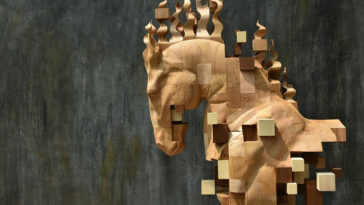 pixelated wood sculptures hsu tung han 2