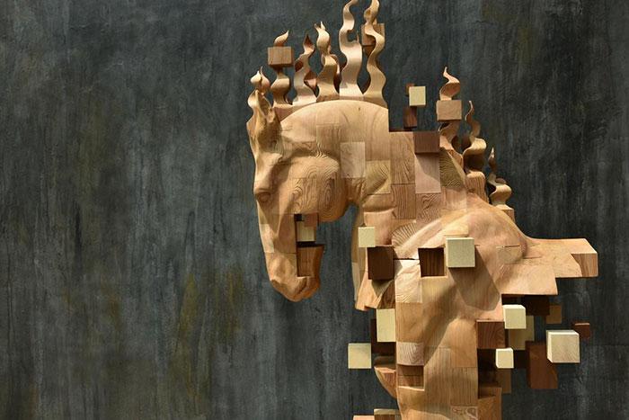 pixelated wood sculptures hsu tung han 2