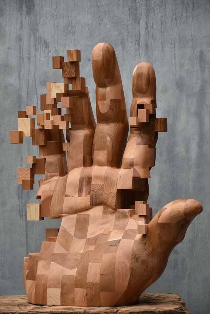 pixelated wood sculptures hsu tung han 3