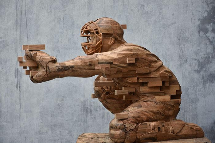 pixelated wood sculptures hsu tung han 4