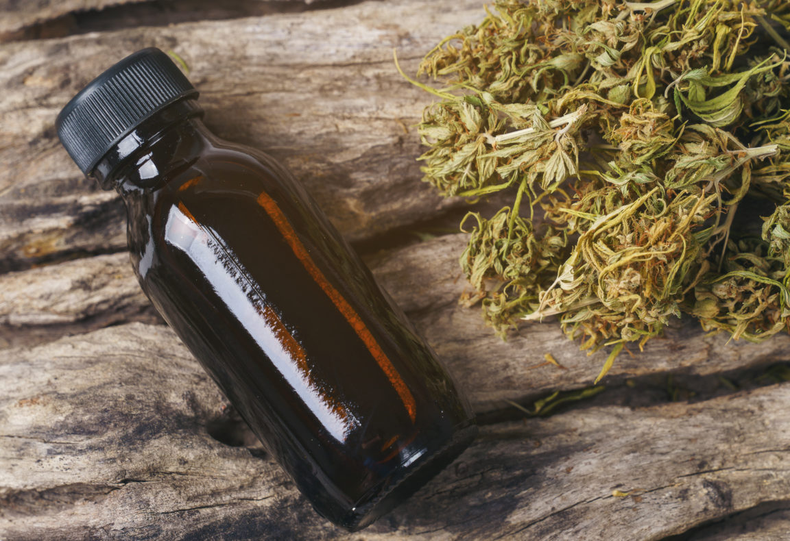 dried medical marijuana with cbd and thc extract XH56WYT