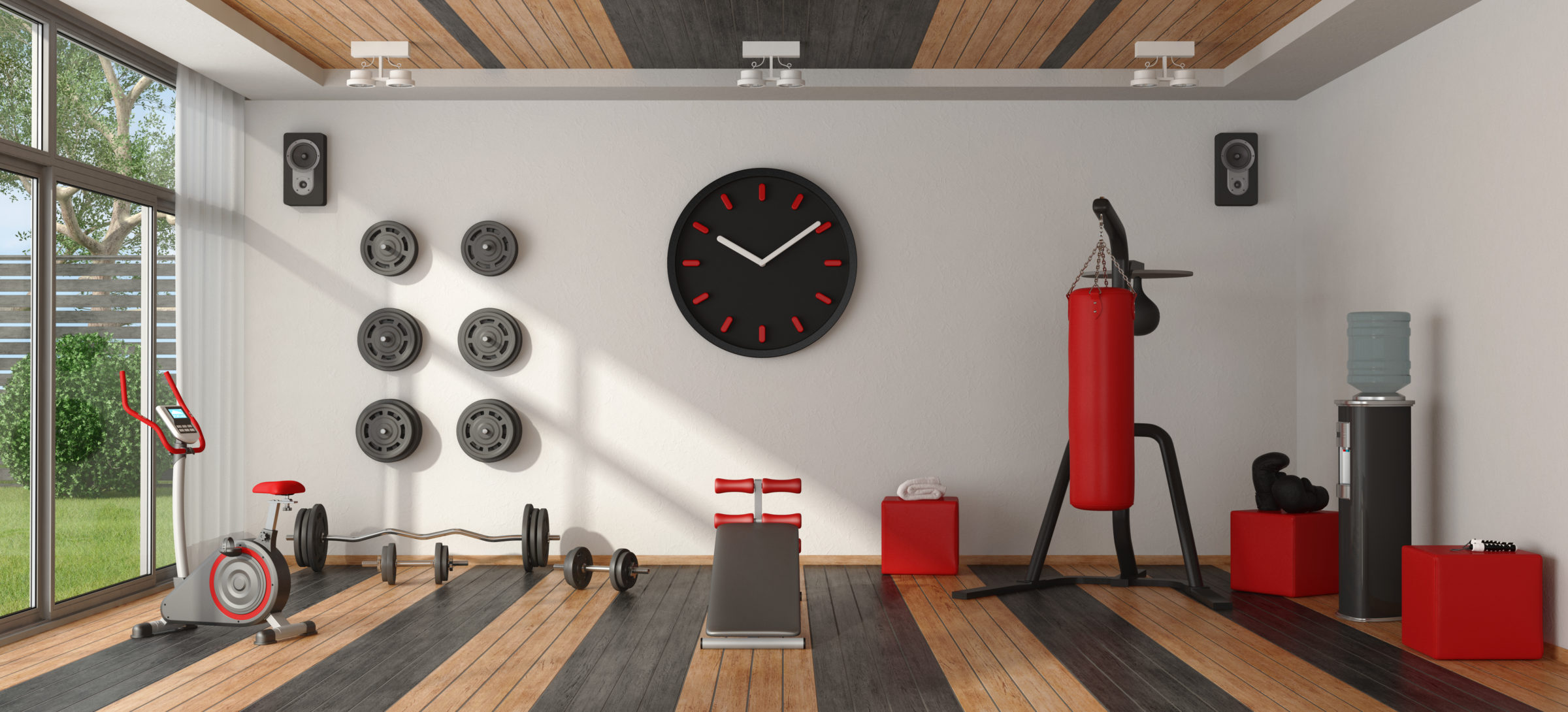 home gym with sport equipment PC2VFGH