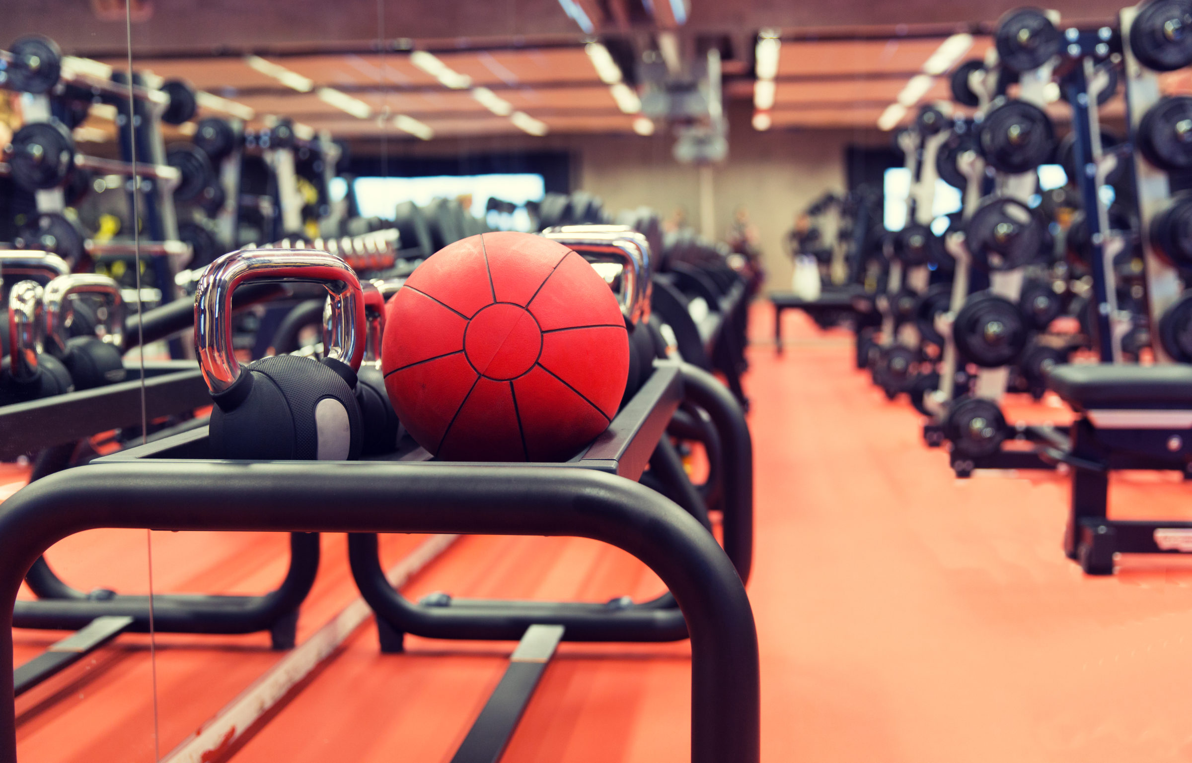 medicine ball and sports equipment in gym PE857JR