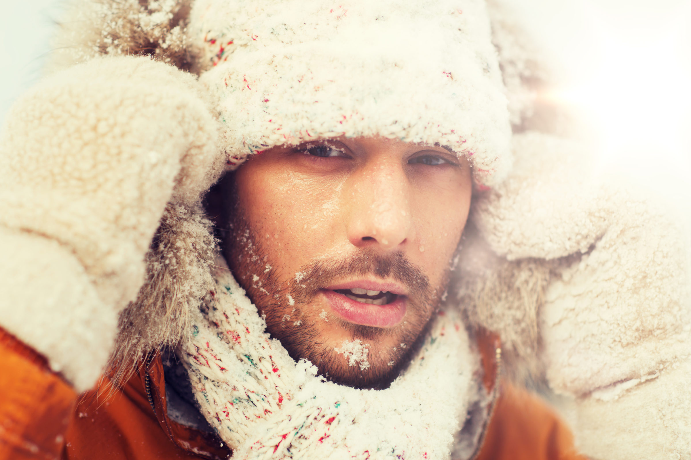 face of man in winter clothes outdoors PXR9G76
