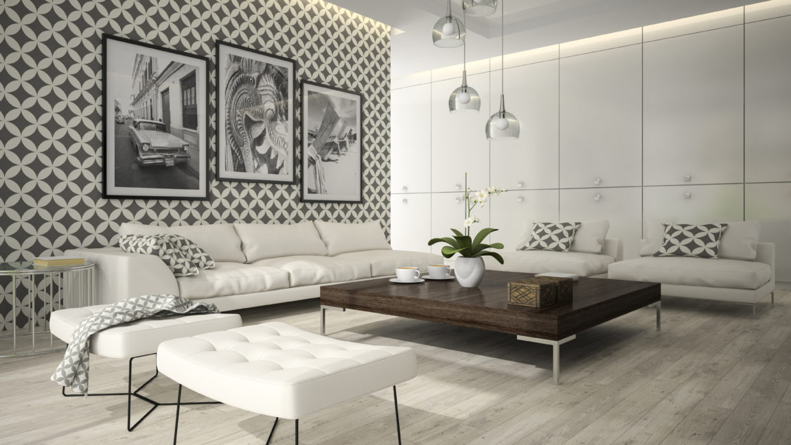 interior of living room with stylish wallpaper 3d PK4KVRE