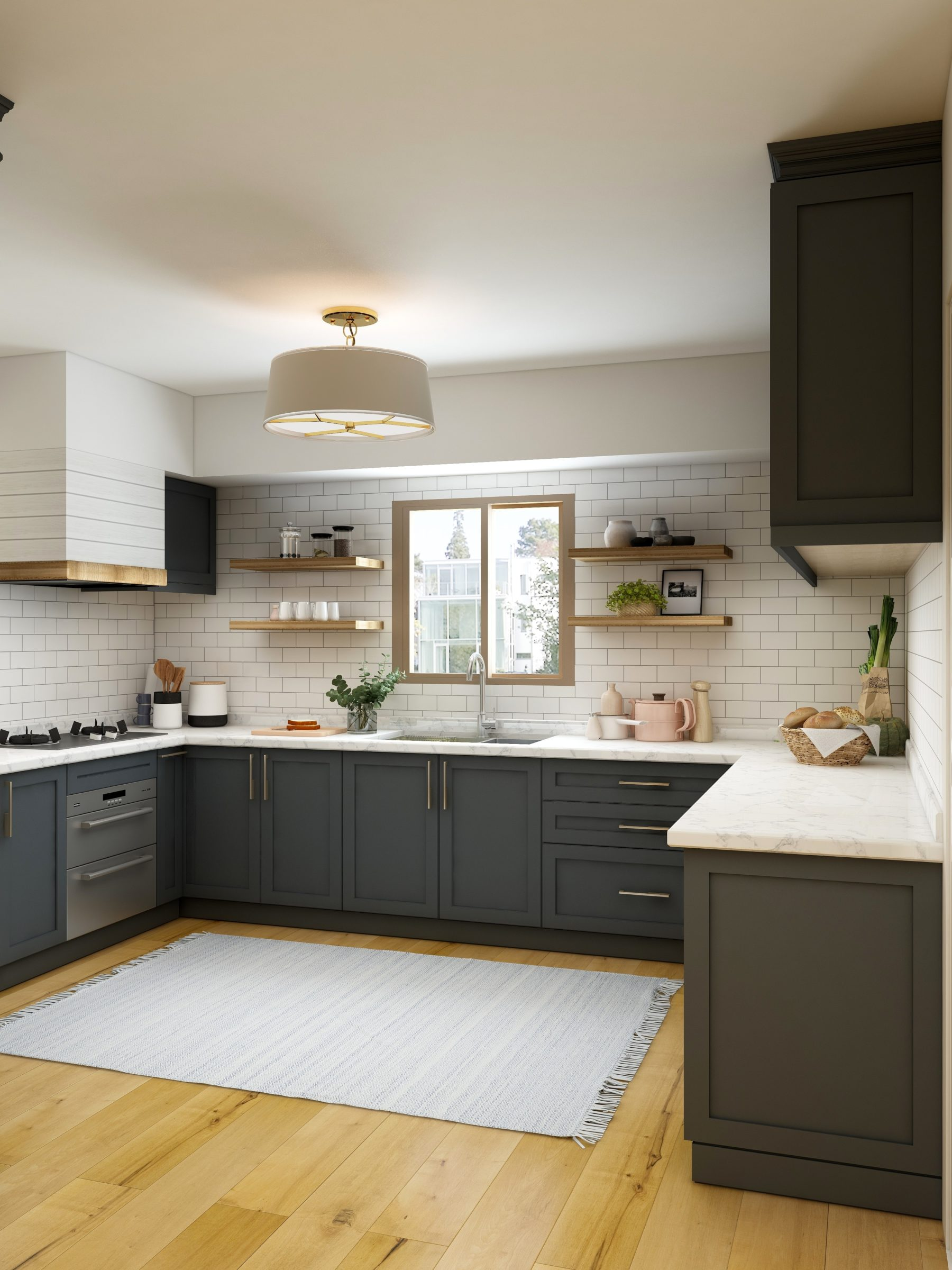 white and brown kitchen cabinet