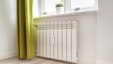 heating white radiator radiator in living room 4BD3YZF