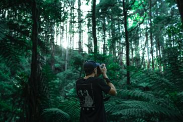 person taking photo using black camera under green leaf trees at daytime