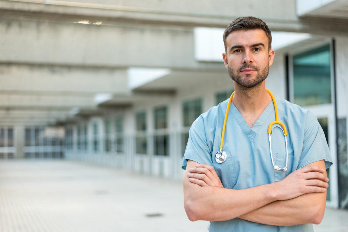 male nurse with stethoscope GZDHN3C