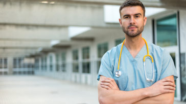 male nurse with stethoscope GZDHN3C