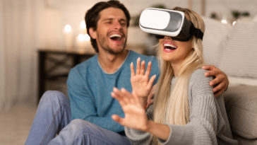millennial couple experiencing virtual reality at KRV8WYT
