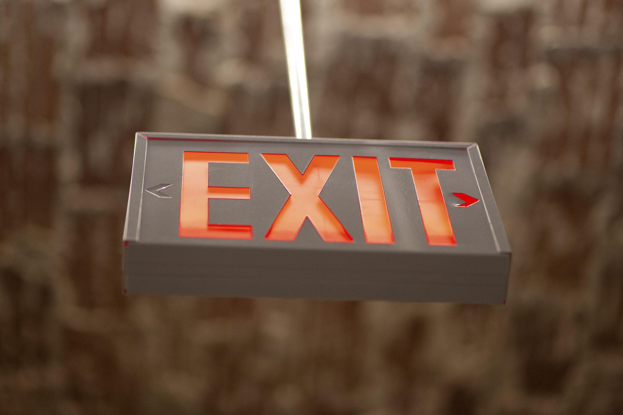 hanging exit sign WC3CJUK